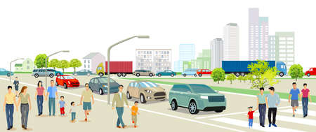 City with road traffic, apartment buildings and pedestrians on the sidewalk Ilustracja
