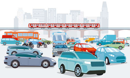Traffic jam at the road intersection and transport by elevated train, illustration