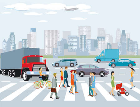City with road traffic, apartment buildings and pedestrians on the crosswalk, illustration Zdjęcie Seryjne - 161243580