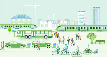 Ecological city with electric vehicles and express trains Ilustracja