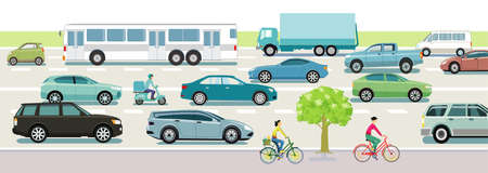 Road traffic with cars, buses and cyclists