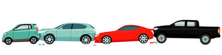 Car accident isolated on white Ilustracja