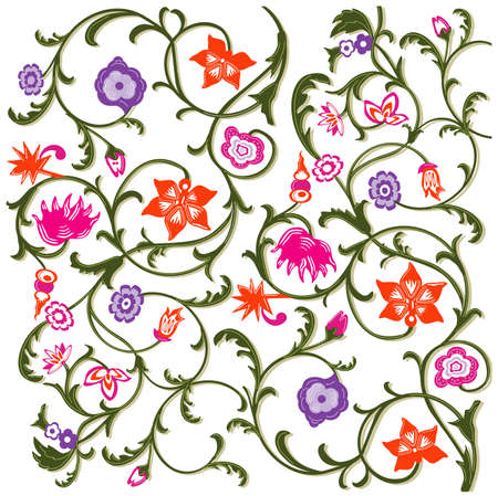 Floral pattern Bloomed, flowers isolated on white background. - vector illustration Zdjęcie Seryjne - 161989798