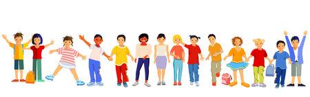 Children happily together, vector illustration Ilustracja