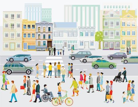 Street with pedestrians and crosswalks illustration Ilustracja