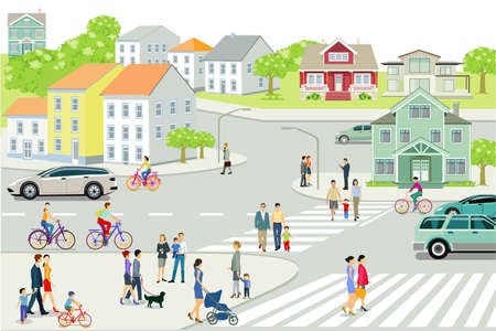 Cityscape with people and road traffic, illustration Zdjęcie Seryjne - 162231465