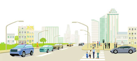 Road traffic with people on the sidewalk illustration Ilustracja
