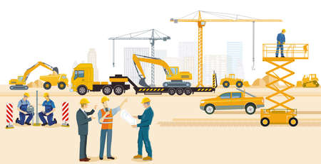Construction site with excavator, architect and heavy truck