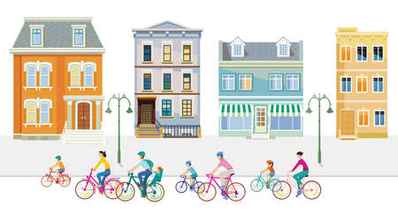 Cyclists in the suburb with apartment buildings