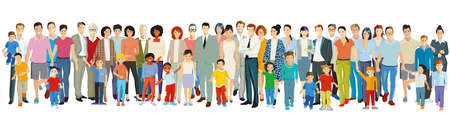 Parents and children with grandparents, families Ilustracja