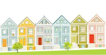 Victorian houses illustration of San Francisco Ilustracja