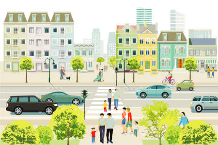 Road traffic with families and people on the sidewalk illustration