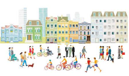 families and people on the sidewalk illustration