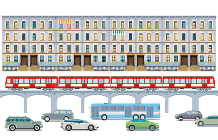 Road transport with elevated train and cityscape illustration