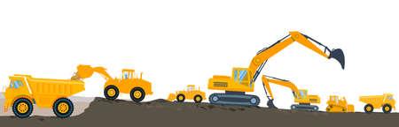 Excavator with bulldozer loading, illustration