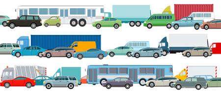 Rush hour, cars in traffic jam, vector illustration