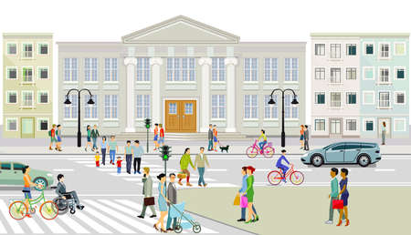 City view with pedestrian crossing and pedestrians, illustration