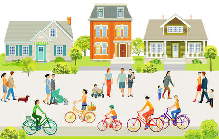 Suburb With Pedestrians And Families On The Sidewalk Illustration Zdjęcie Seryjne - 163662208