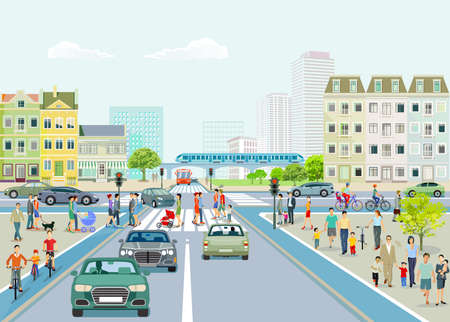 City with road traffic, skyscrapers, apartment buildings and pedestrians on the sidewalk, illustration Ilustracja