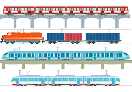 Set of modern passenger trains, subway transport, high speed trains and subway train, tram, cargo train - vector illustration Ilustracja
