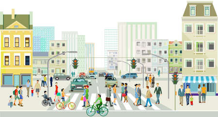 Streets with people and traffic in front of a big city illustration Zdjęcie Seryjne - 164288720
