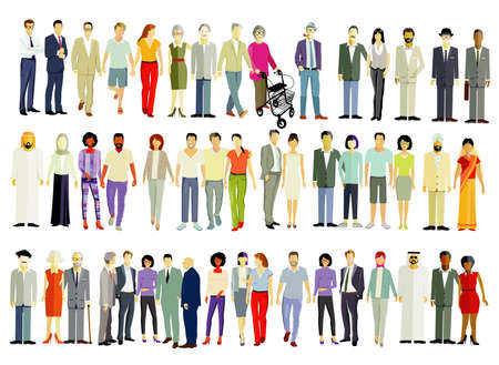Large group of different people isolated - vector illustration