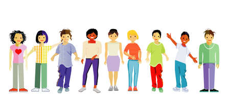 Children stand happily together, isolated vector illustration