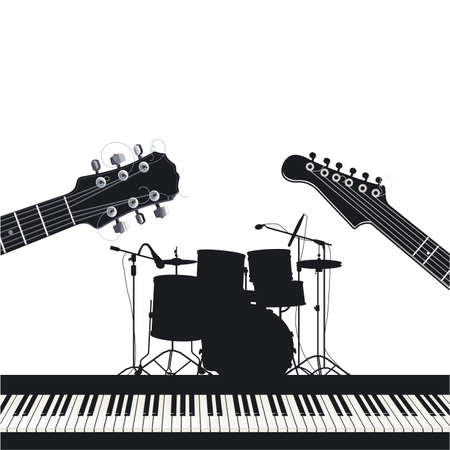 Musical instruments, guitars, drums and piano, rock music Ilustracja
