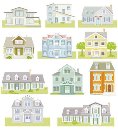 Set of houses and apartment houses, country houses, wooden houses, family houses, illustration