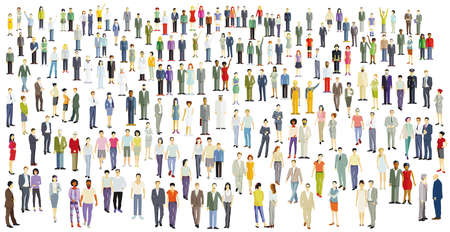 Large crowd, group of people isolated on white, illustration Vecteurs