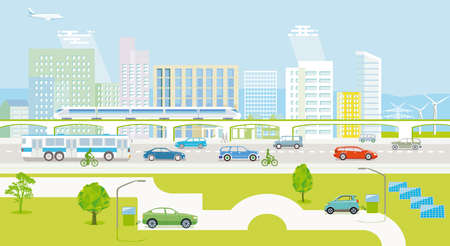 Ecological city with electric vehicles and passenger train