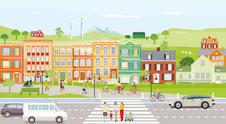 City with houses in the suburb - illustration, vector, Vetores