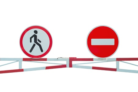 Road signs  Road up  Restricted area  Pedestrians prohibited  Isolated Stock Photo