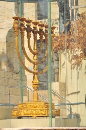Golden Menorah in Jerusalem Israel photo