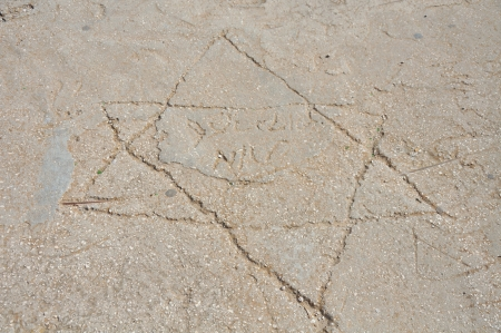 Star of David on the asphalt, concrete, Jerusalem Stock Photo - 18268707