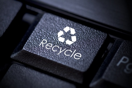 Computer keyboard concept Image. Recycle button. photo