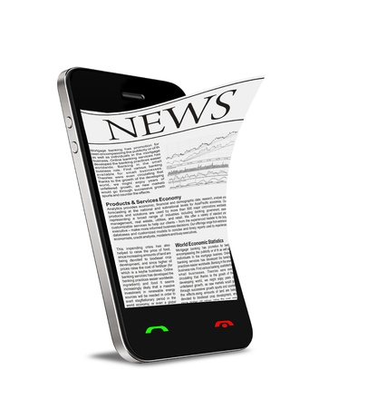 personal data assistant: News on mobile phone, smart phone. Isolated on white.