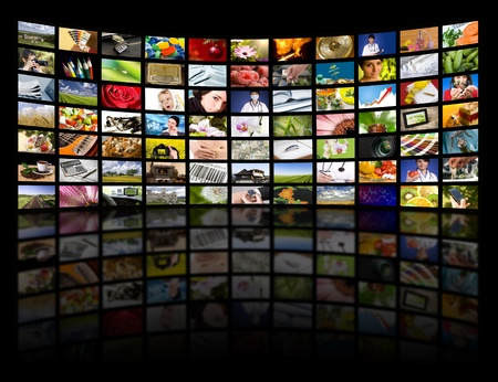 multi media: LCD TV panels. Television production technology concept.