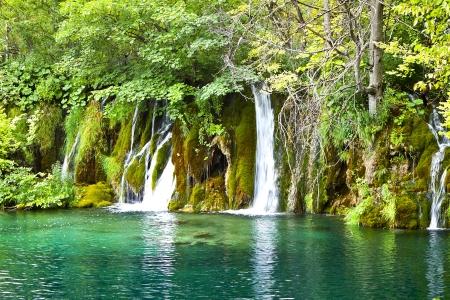 cascading: Cascading Water. Krka Waterfall National Park in Croatia. Stock Photo