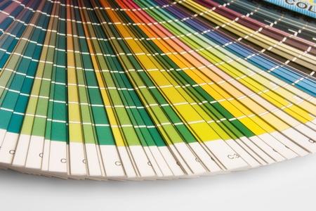 descriptive colours: open CMYK sample colors catalogue Stock Photo