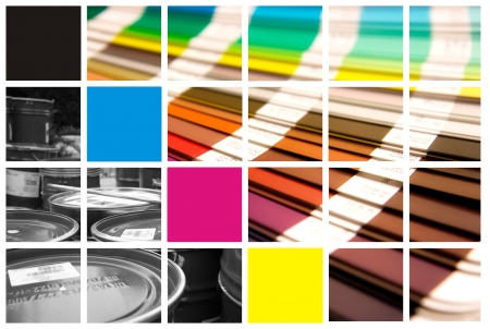 printer: pantone and cmyk color in beautiful collage
