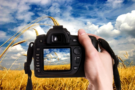 Man taking a landscape photography with a digital photo camera Stock Photo - 10514824