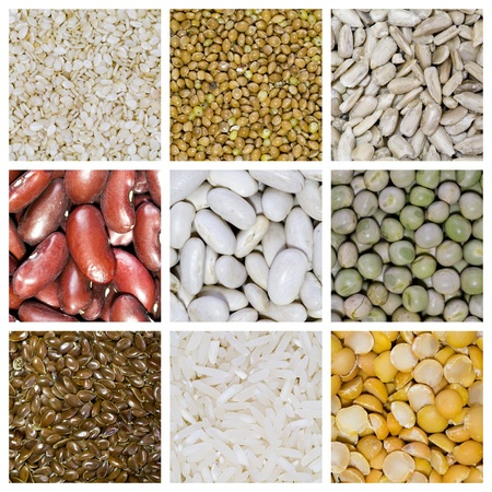 grains: Assorted cereals in container. From top to bottom and left to right: sesame, millet, sunflower seed, red beans, white beans, green peas, linseed, rye, yellow peas. Stock Photo