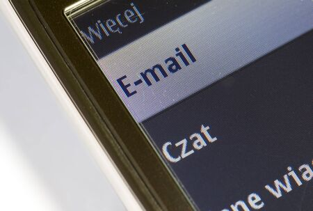 Mobile phone e-mail. Selective focus macro. Stock Photo - 10514868