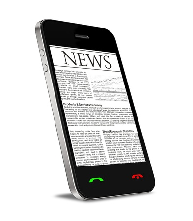 phone isolated: News on mobile phone, smart phone. Isolated on white.