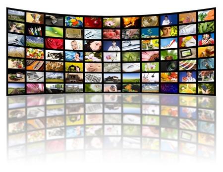 Lcd-tv-panelen. Televisie productie technologie concept. Stockfoto