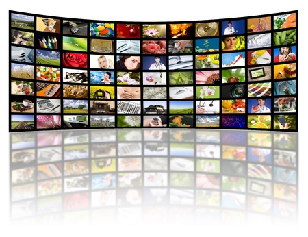 entertainment industry: LCD TV panels. Television production technology concept.