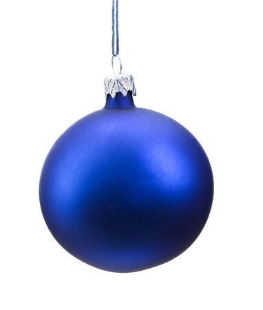 bauble: Blue Christmas bauble hanging from a wire, isolated on a white background.