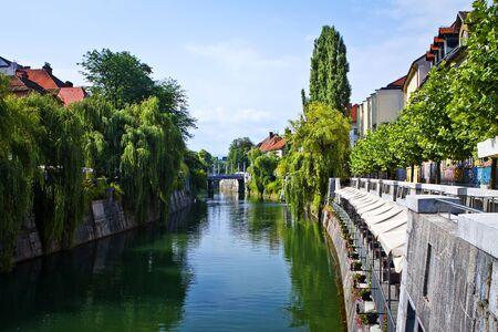 Center of Ljubljana and river. Channel water. Slovenia. photo