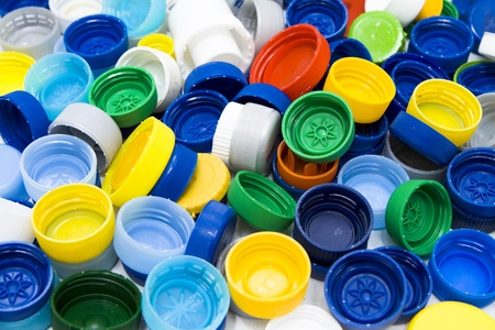 colored bottle: Lots of colorful plastic caps. Shot in studio.